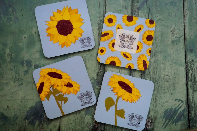 SRM Couture customized coasters with Logo