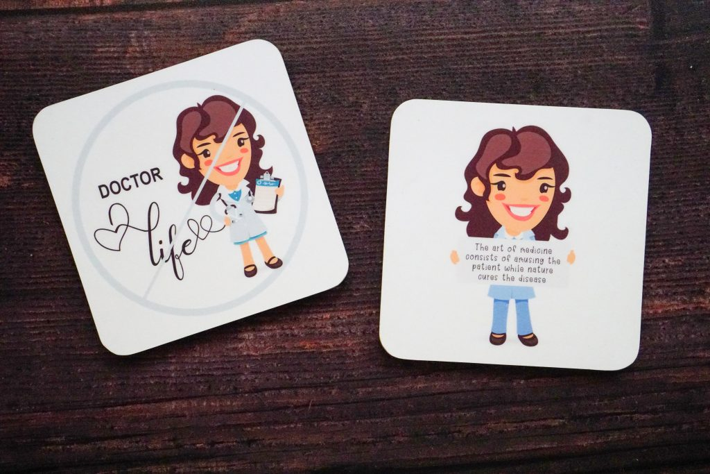 Customized coaster for a female doctor