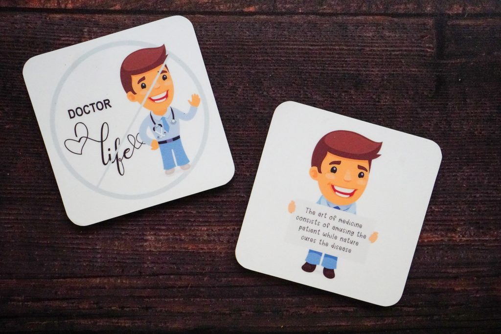 Customized coaster for a male doctor